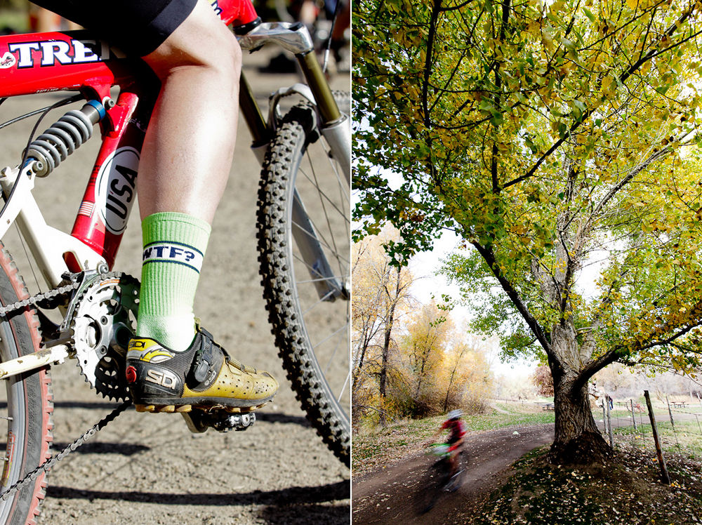 One vertical photo of a bike racer's socks and one vertical photo of a cyclocross racer blurring past a tree at Soldier Hollow.