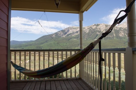 A hammock hanging on a porch in Crested Butte, Colorado.