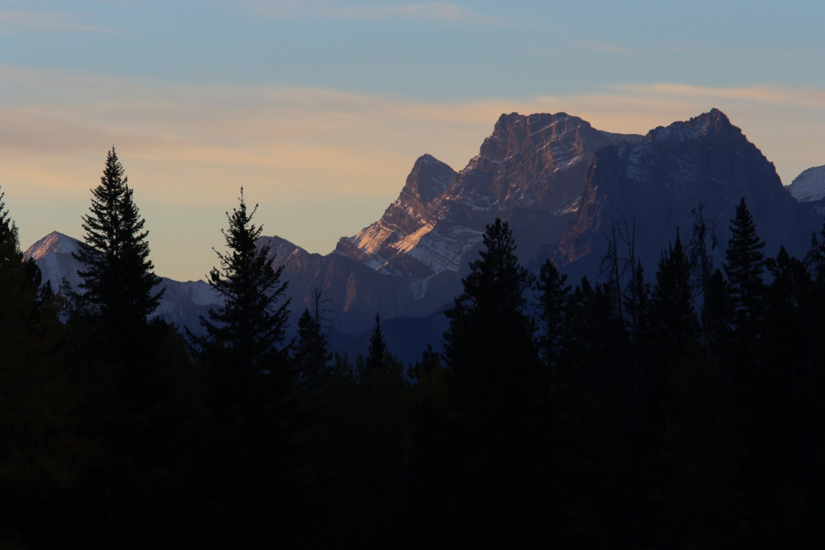 Dawn over the mountains in Banff National Park in Canada