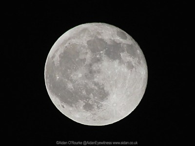 Full moon photographed from a bus stop in Stockport!