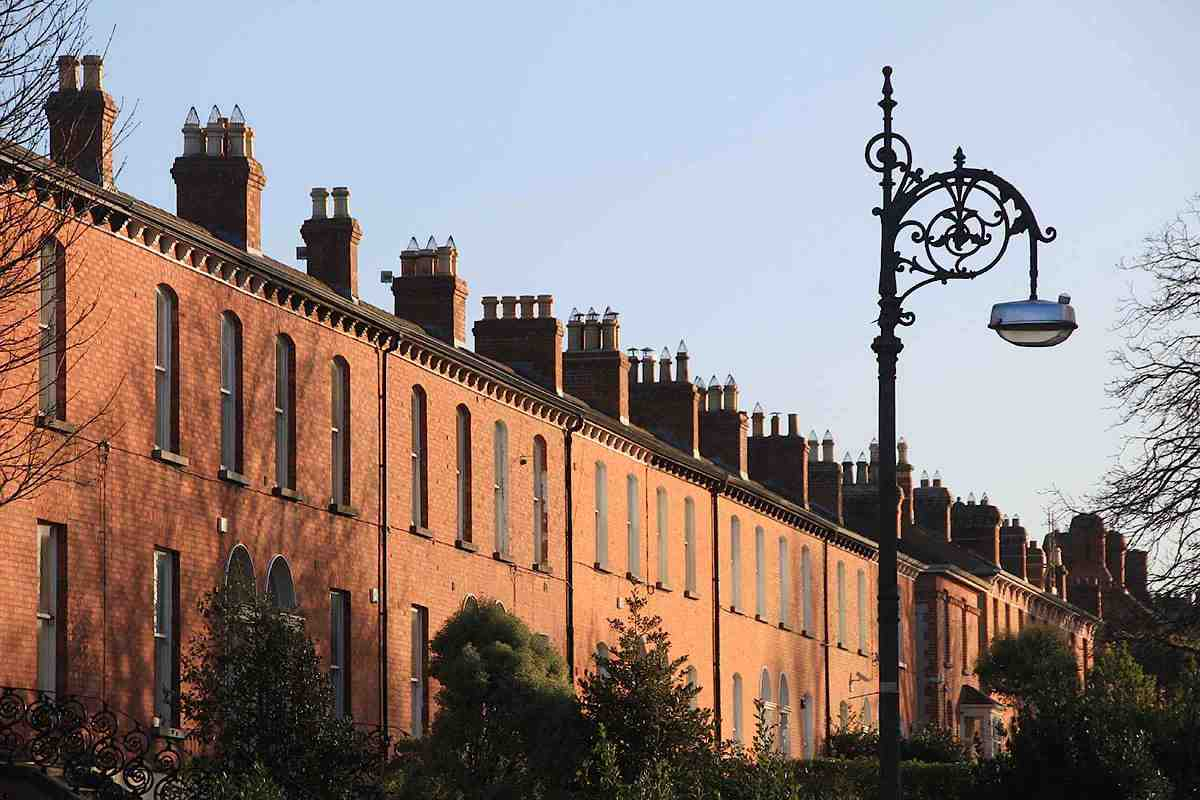 Houses on Palmerston Road Dublin with ornate street lamp