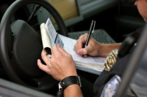 Police check a suspended drivers license