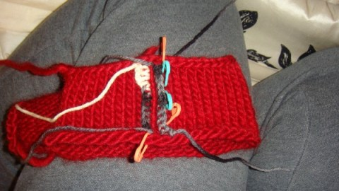 My swatch, with the two crocheted line of stitches