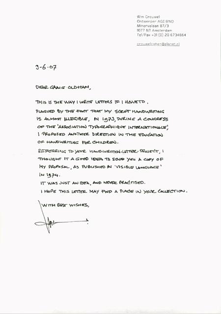 Hand written letter project crouwel