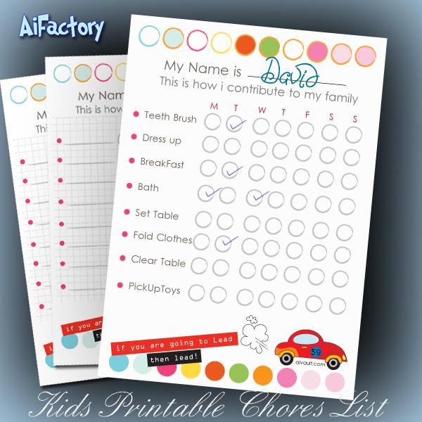Kids Chores list printable pdf file print at home