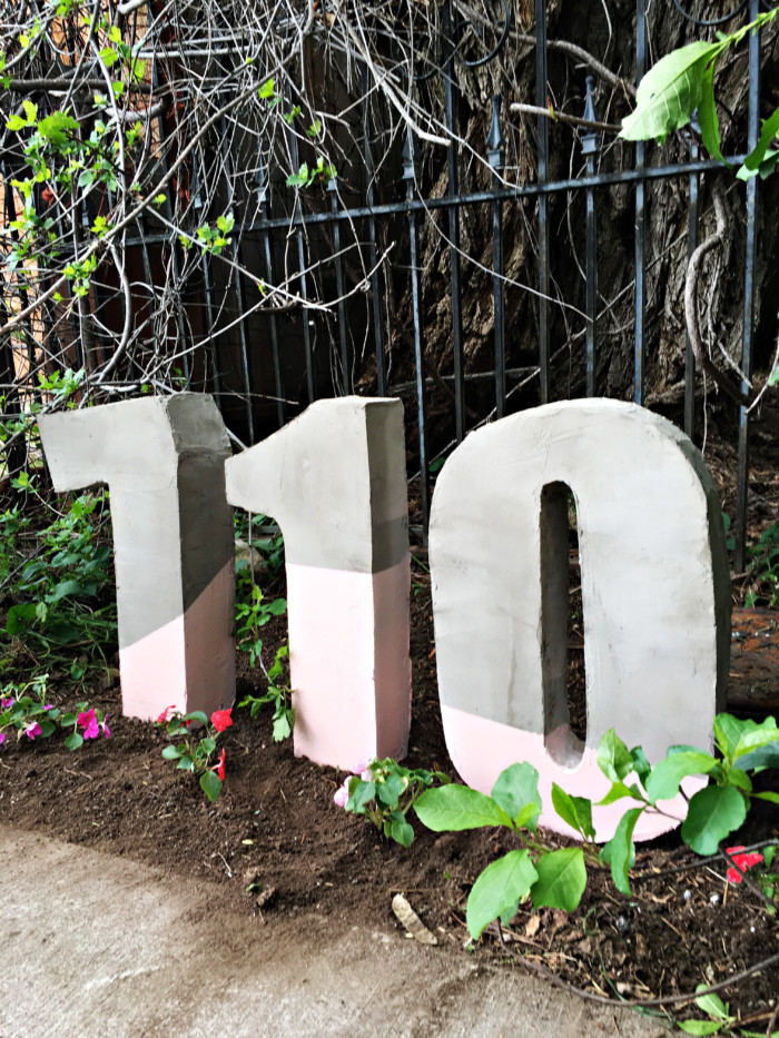 Large house numbers made from painted cement ajoyfulriot.com