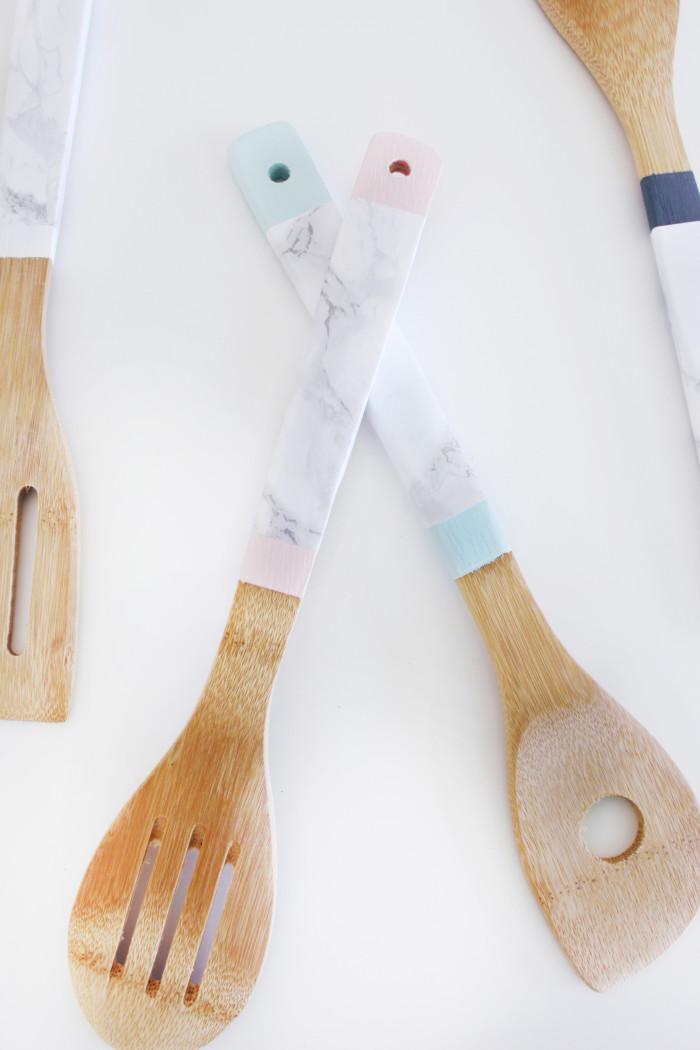 diy faux marble kitchen utensils a joyful riot