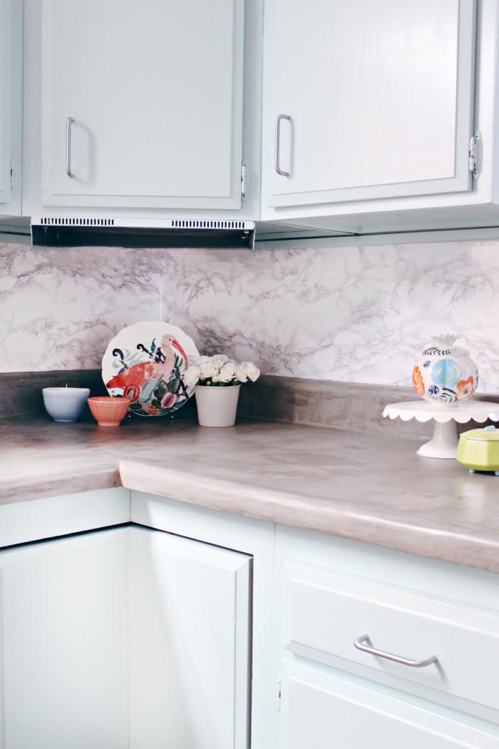Diy kitchen remodel reveal concrete countertops a joyful riot - Diy redo kitchen countertops ...