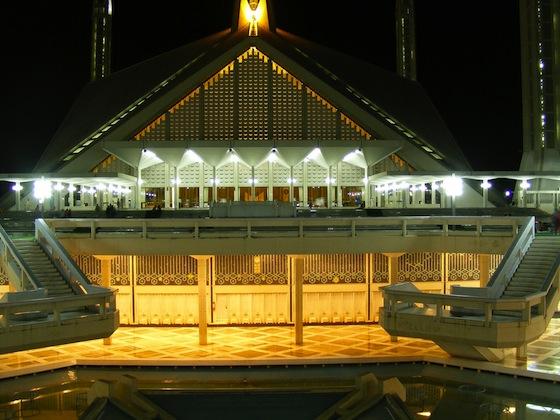 Faisal Mosque in Lahore  Pakistan  night