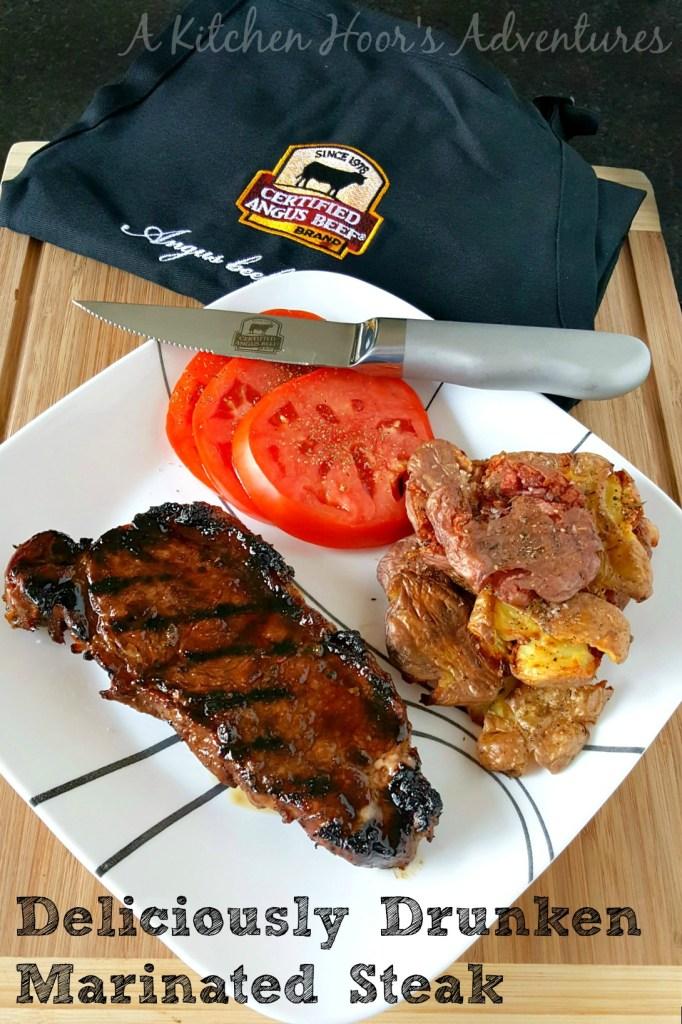 #SundaySupper Deliciously Drunken Marinated Steak #GrillTalk