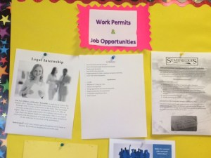 Job opportunities are posted outside of the College and Career Center.