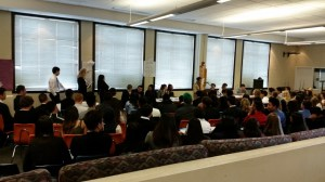 The Senate convened in the pit during Mock Congress. Photo courtesy of Chris Honeywell