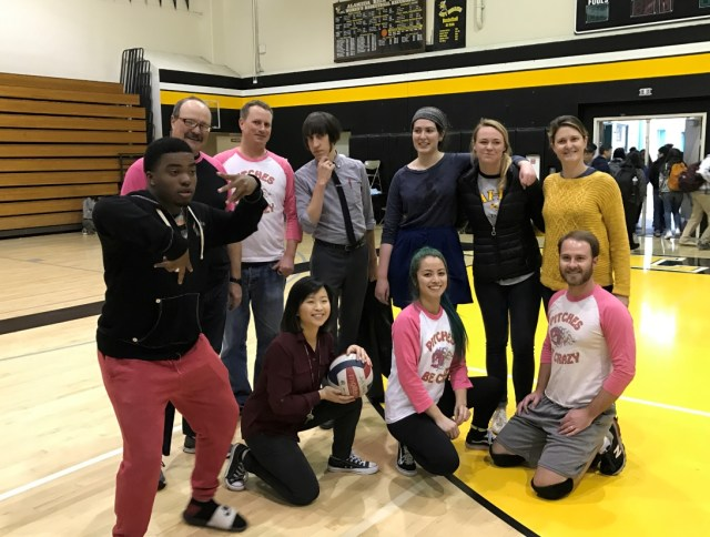 Teachers battled students on the volleyball court in February. Photo courtesy of Lec Tsang