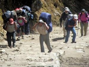 porters trekking to EBC