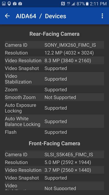 Samsung Galaxy S7 Sony imx260