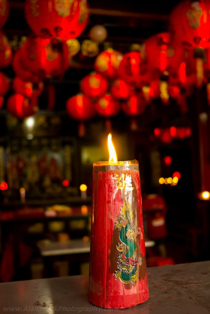 Buddhist temple candle
