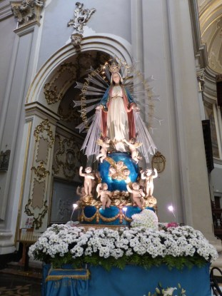 A mini-shrine to Mary inside the cathedral in Ragusa.