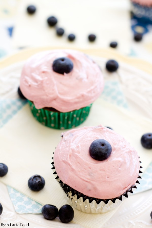 Chocolate Cupcakes with Blueberry Frosting   A Latte Food