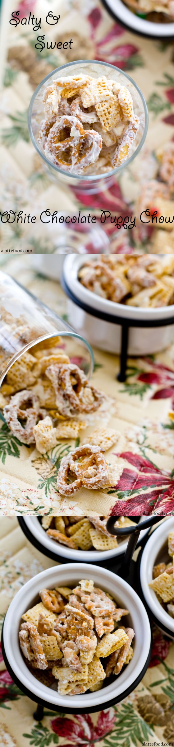 White Chocolate Salty and Sweet Puppy Chow | A Latte Food