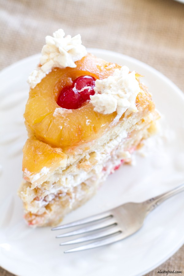 pineapple upside down cake is three layers of caramelized pineapples ...