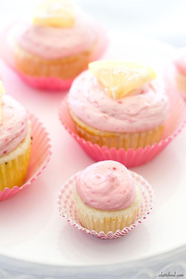 Lemon Cupcakes with Lemon Curd and Raspberry Buttercream