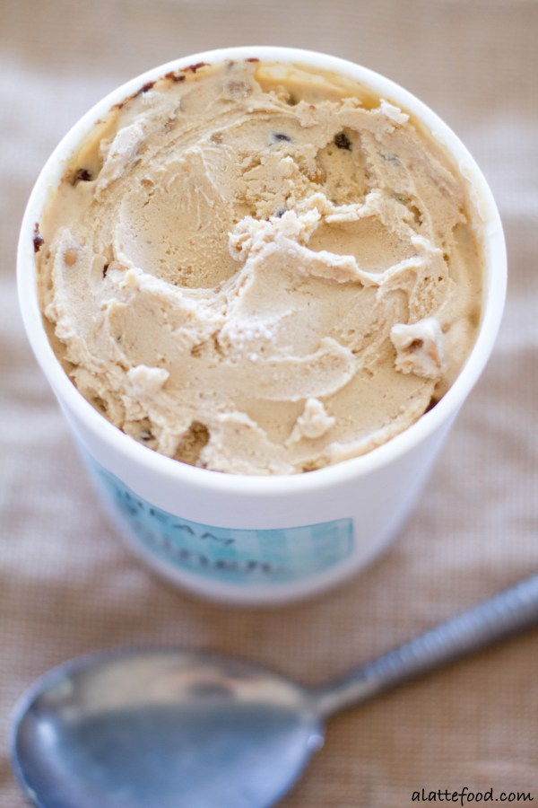 This creamy peanut butter ice cream is swirled with ribbons of chocolate, peanut butter chips, and chocolate chips. It's a chocolate peanut butter dream!  | www.alattefood.com
