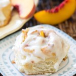 Peach Cinnamon Rolls with a Cream Cheese Glaze