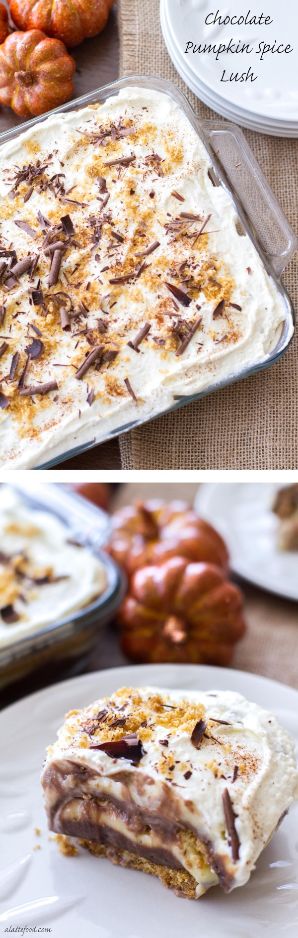 This no bake layered pudding dessert begins with a graham cracker crust, then has layers of chocolate pudding, pumpkin spice pudding, homemade whipped cream, and chocolate shavings! This dessert is a winner.