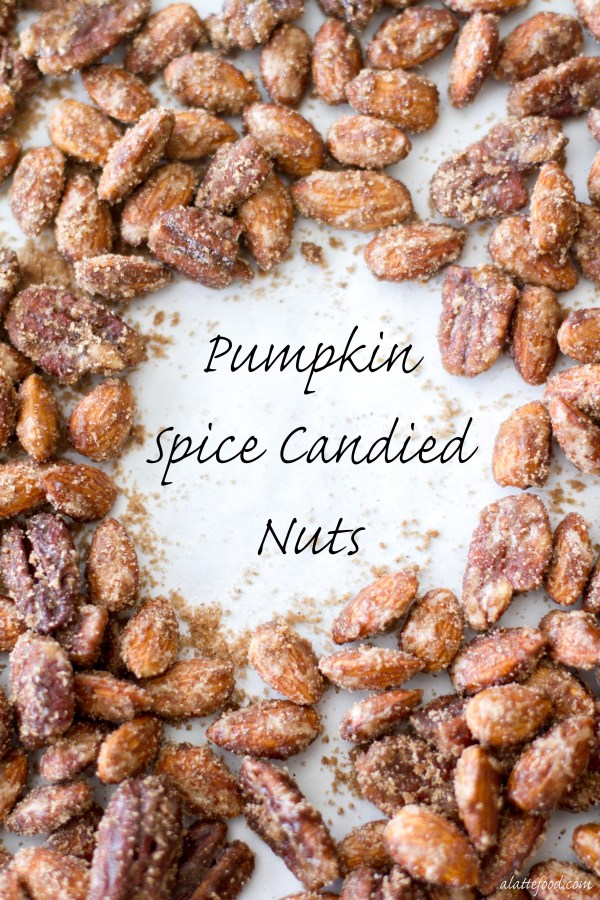 These sugared almonds and pecans are candied with a blend of pumpkin pie spice, white sugar, and brown sugar to make the most irresistible snack! | www.alattefood.com