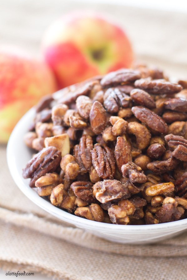 These sugaredalmonds, cashews, and pecans are filled with sweet apple spice and brown sugar flavor! The perfect holiday party snack!
