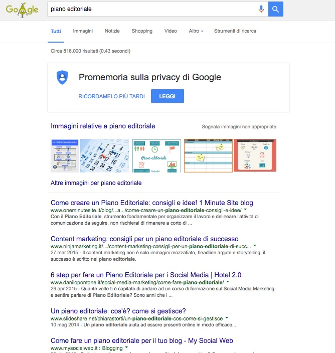 Piano editoriale - La SERP di Google