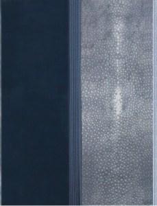 R. Char – Retour à Aumont Legatura in box nero,  galuchat grigio e bastoncini di legno grigio scuro e grigio chiaro