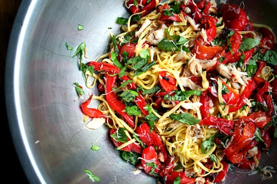 linguini, basil, crab and roasted red peppers all tossed together
