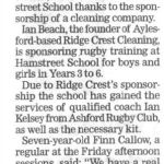 Hamstreet School rugby sponsorship, Kent Messenger