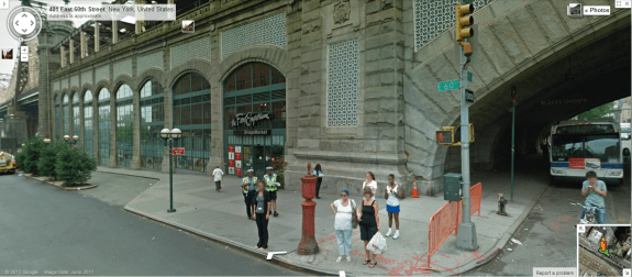 Queensboro bridge approach, New York. Image from Google Streetview.