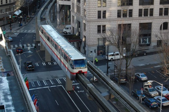 Seattle Monorail, as seen from a neighboring downtown building. CC image from Bala Mainymaran