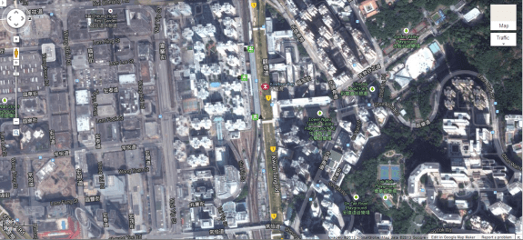 Air rights development above rail yard adjacent to Kowloon Bay MTR station. Image from Google Maps.