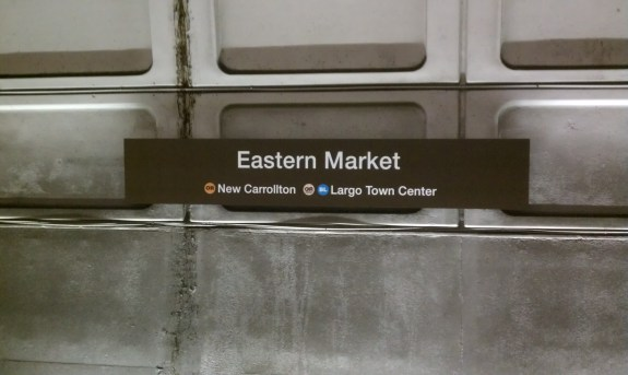 Eastbound wall signage at Eastern Market; awkward space above OR and BL destinations is reserved for future SV service. Photo by the author.
