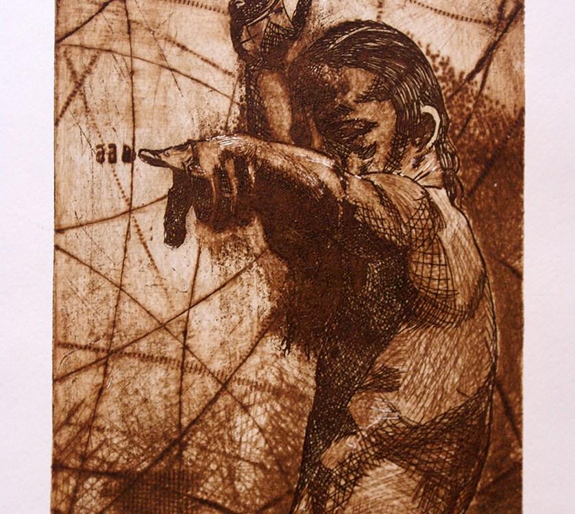 El exilio (grabado) - Alex Cuchilla - El Salvador