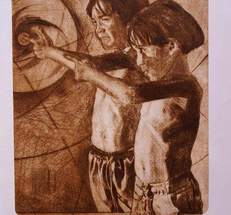 Remolinos del tiempo (Grabado) - Alex Cuchilla - El Salvador
