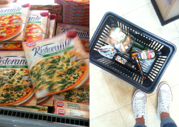 shopping basket & frozen pizza