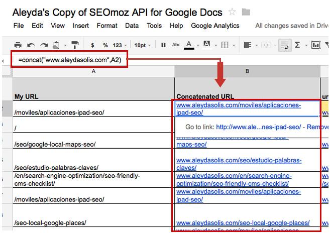Concat SEOmoz API Google Docs