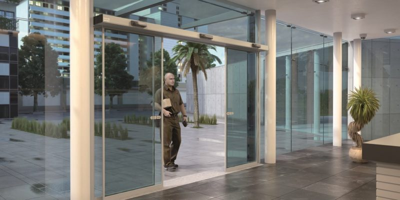 besam-sl500sl-glass-building-interior-ups-delivery & Slim Sliding Operator - alfamatic doors