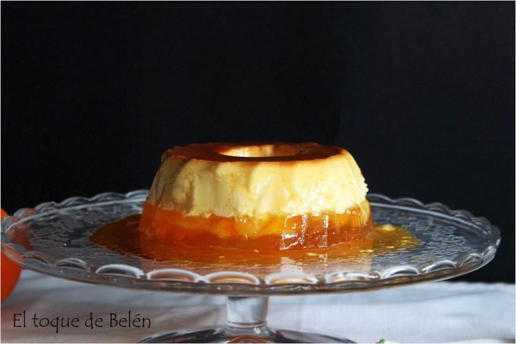 Flan de queso y gelatina de naranjas