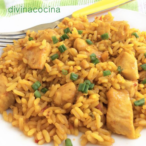 arroz con pollo al curry - divina cocina