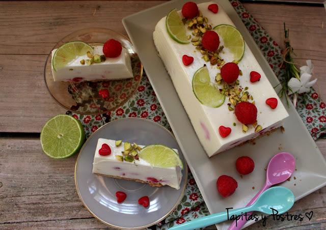 tarta helada de lima y frambuesa