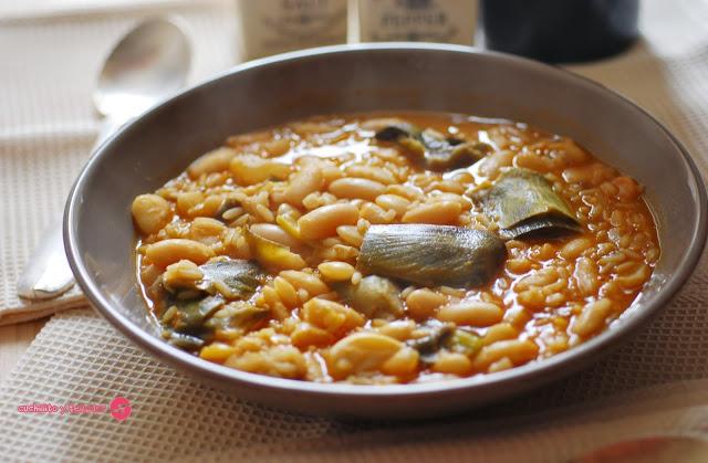 Arroz con habichuelas. Receta tradicional murciana