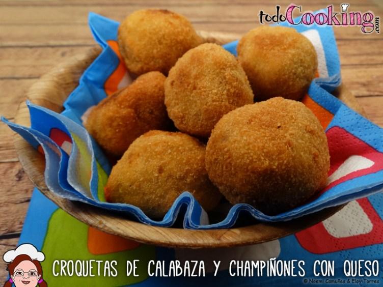 Croquetas de calabaza con champiñones y queso