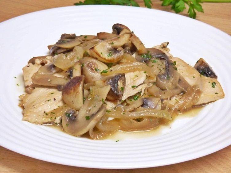 Filetes de pavo o pollo con champiñones