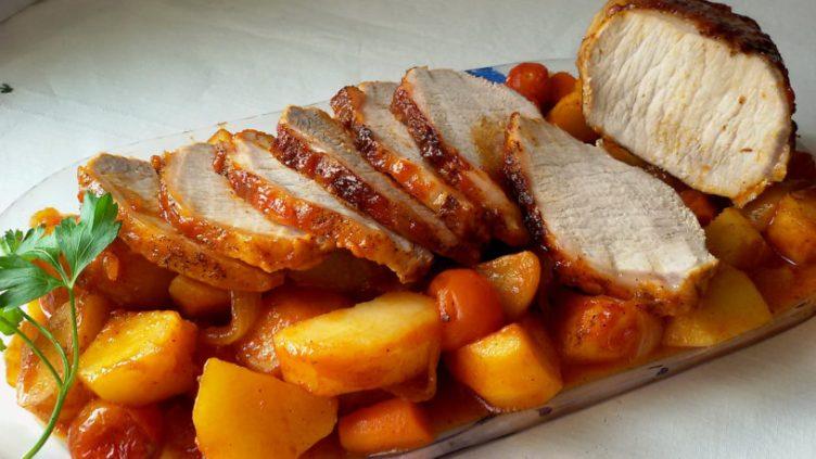 Lomo al horno con ketchup y verduras